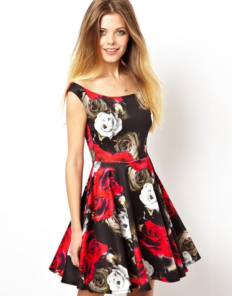 Черный, белый и красный цвета в дизайне цветочного платья