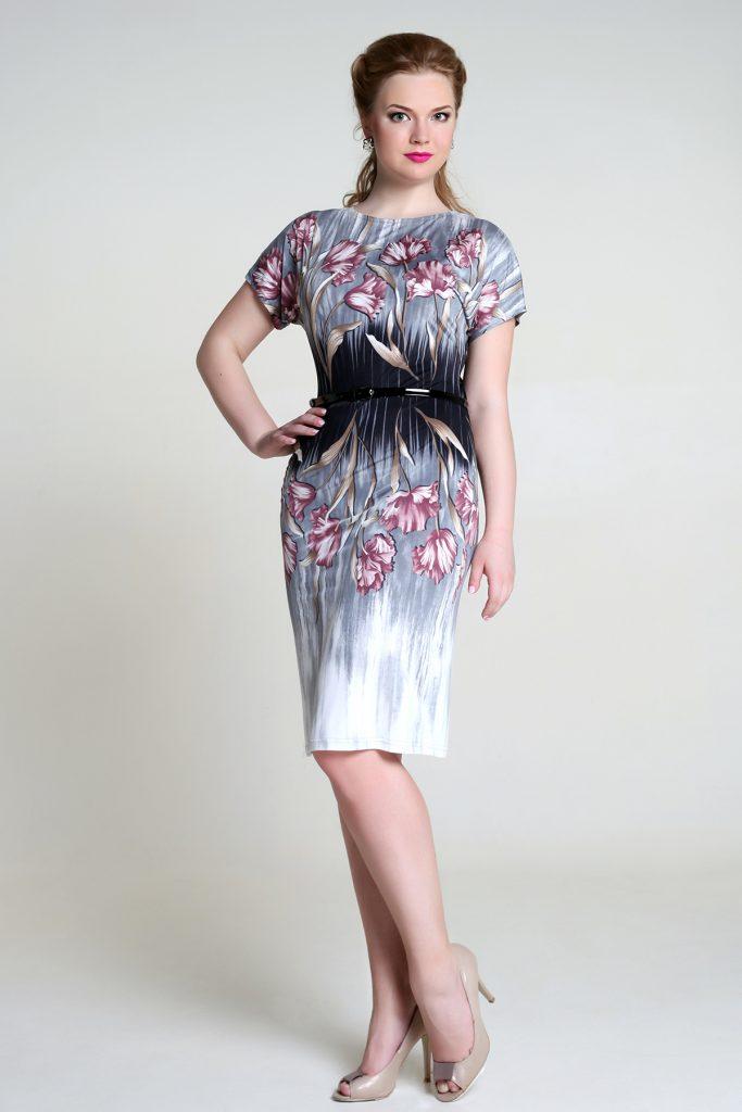 Цветочное платье для офиса для полных девушек
