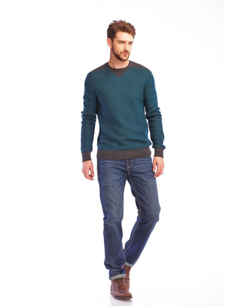 Коричнево-зеленый мужской пуловер