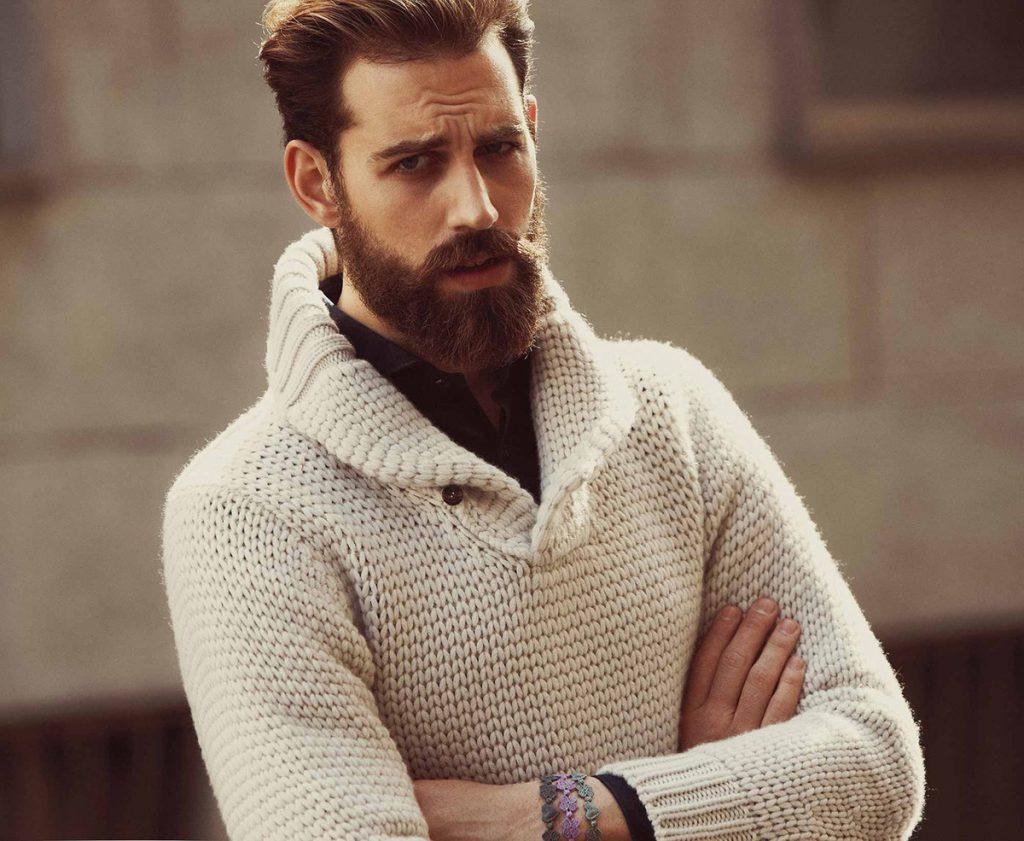 Модный бежевый мужской пуловер