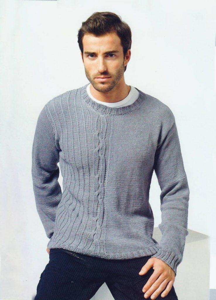 Серый оригинальный вязаный пуловер