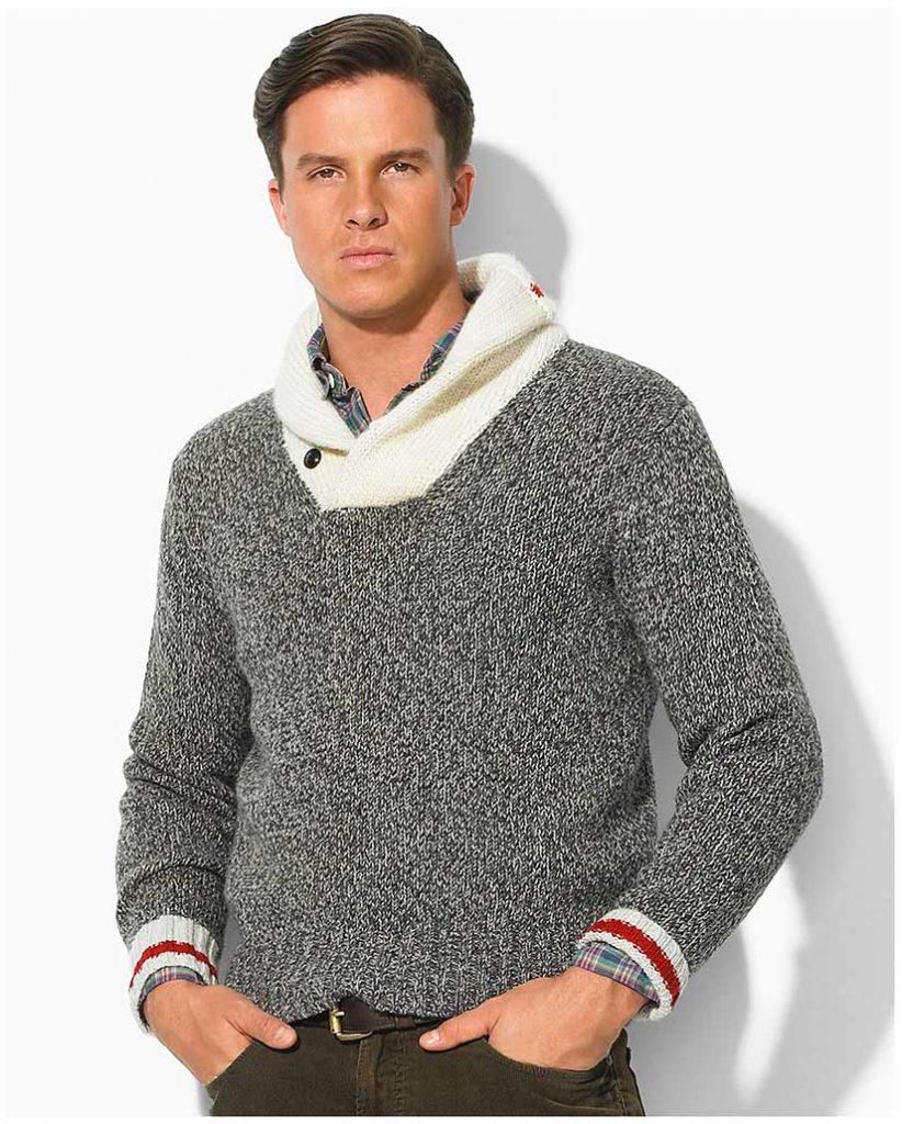 Пуловер с воротником на пуговицах