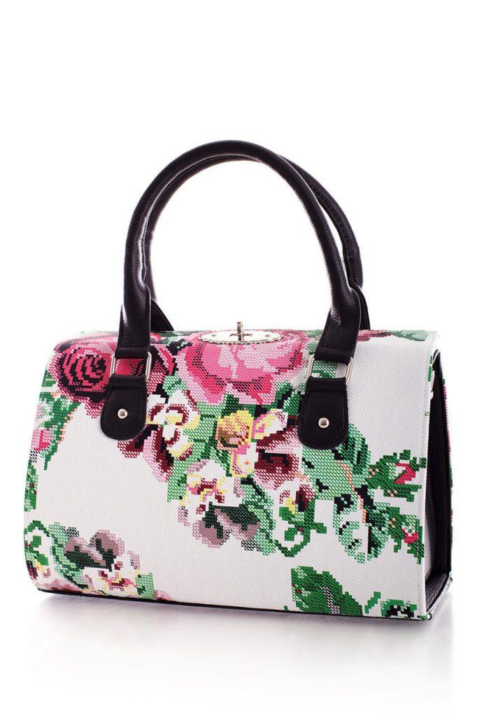 Белая сумка с цветочным принтом