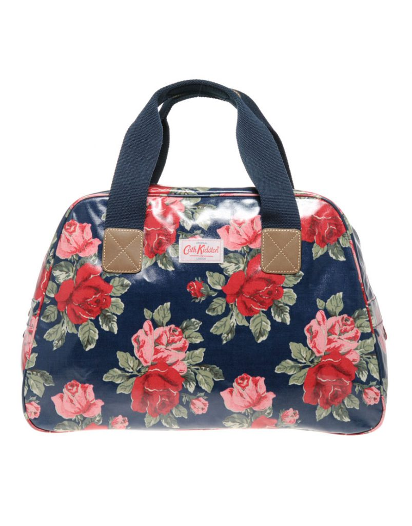 Синяя лаковая сумка с цветочным принтом