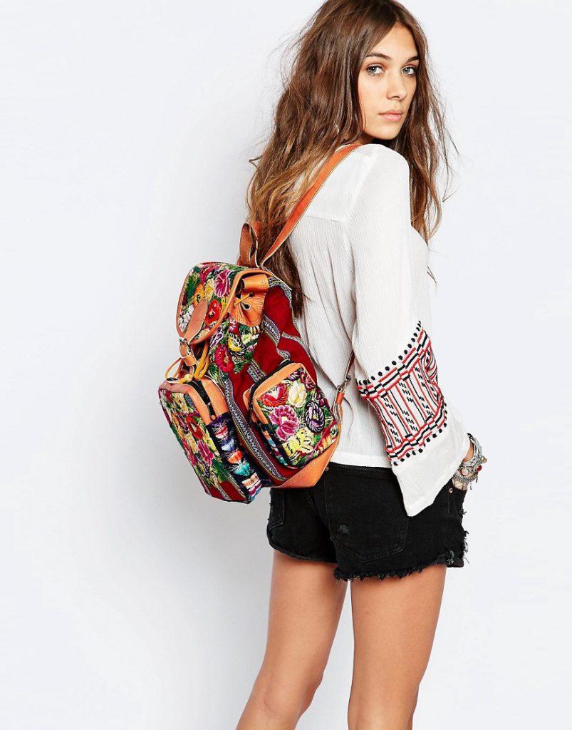 Рюкзак в стиле бохо с цветочным принтом