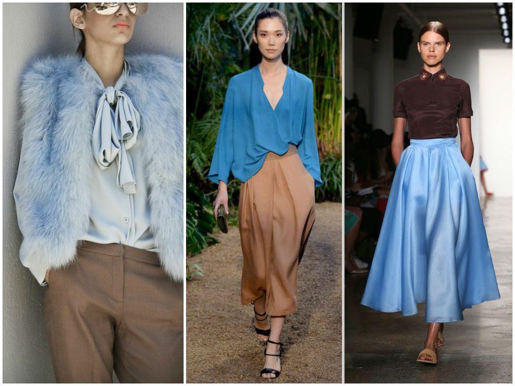 Сочетание голубого цвета с коричневым в одежде