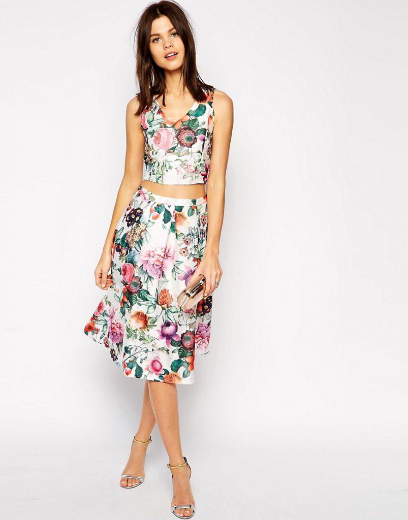 Цветочный комплект из топа и юбки-миди