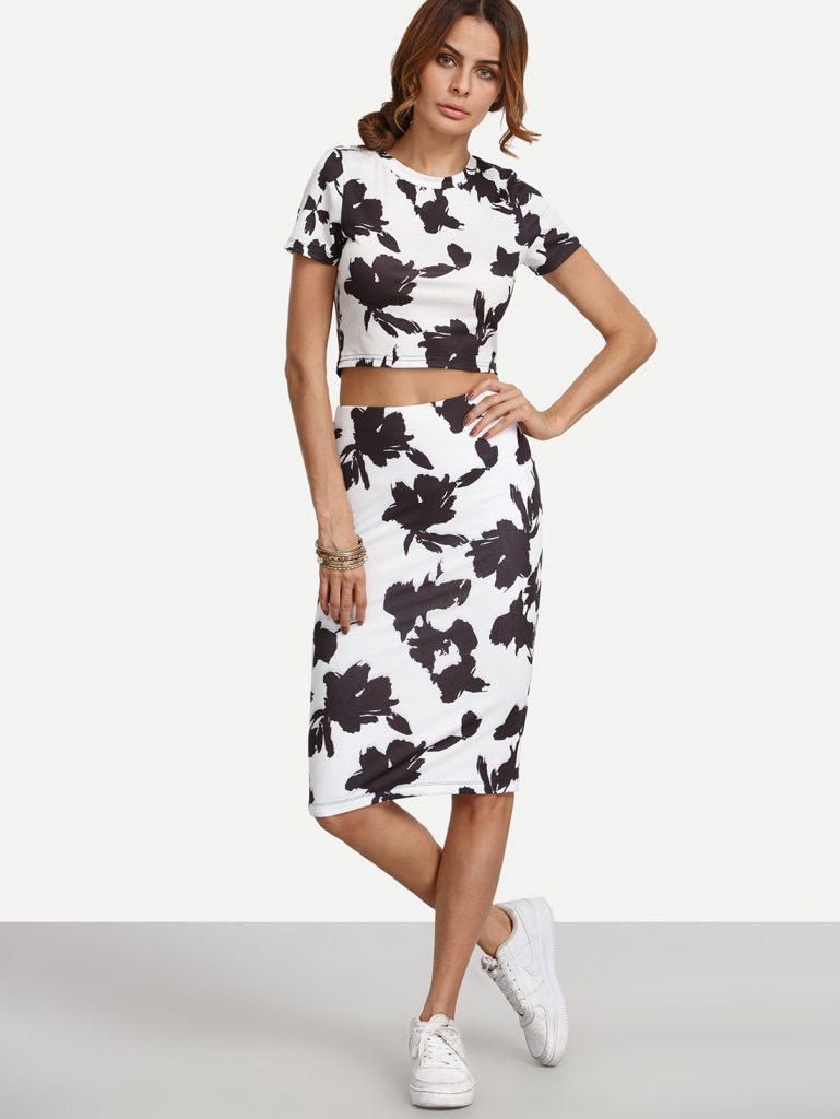 Черно-белый цветочный комплект из топа и юбки-миди
