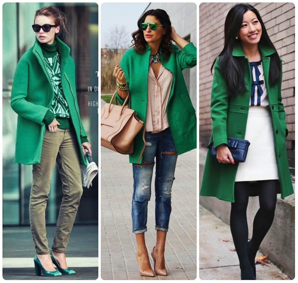 Варианты комбинирования зеленого пальто с аксессуарами