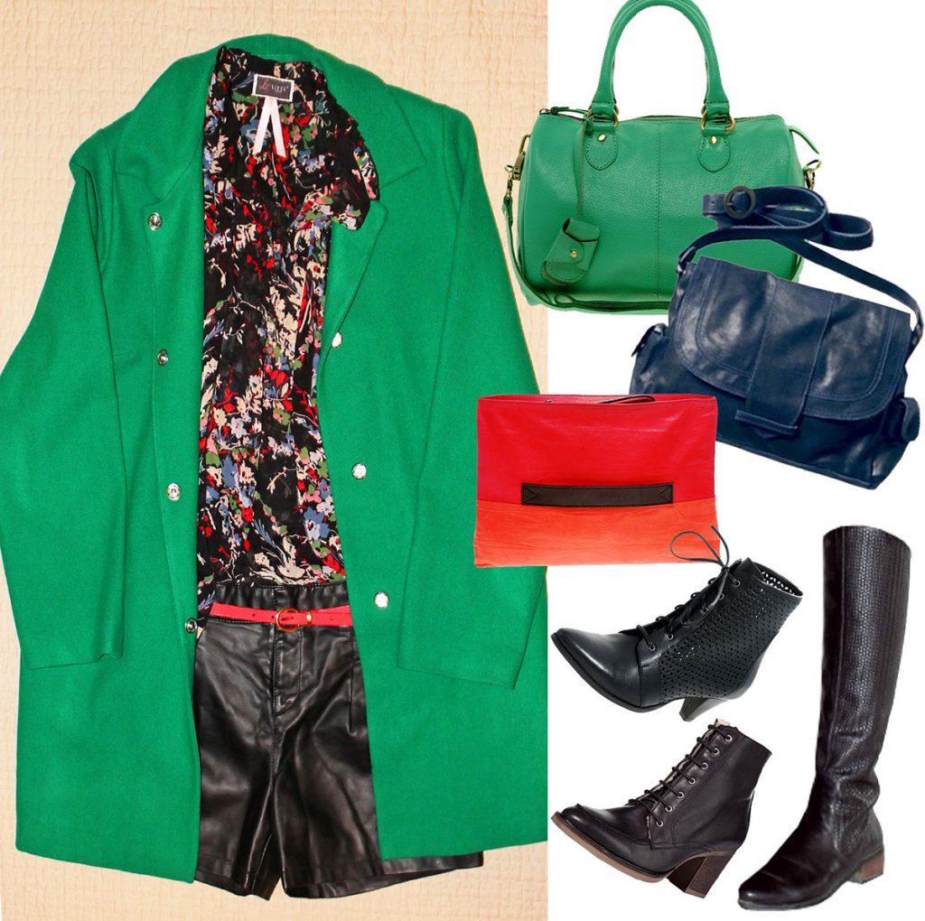 Комбинирование зеленого пальто с обувью и аксессуарами