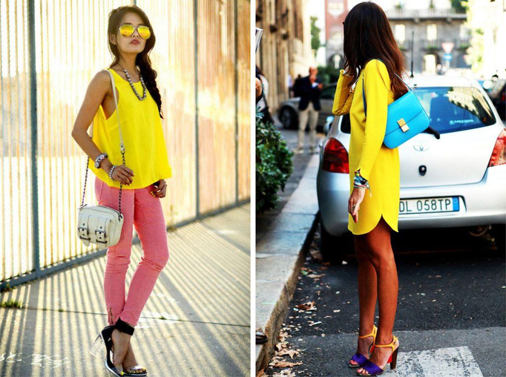 Желтый с розовым в одежде