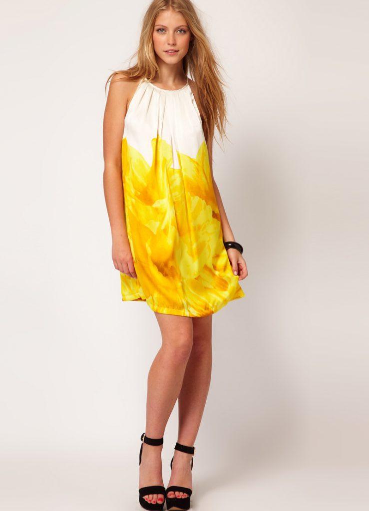 Бело-желтое платье