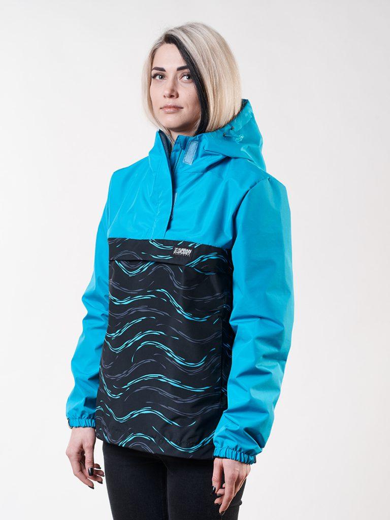 Черно-синий женский анорак