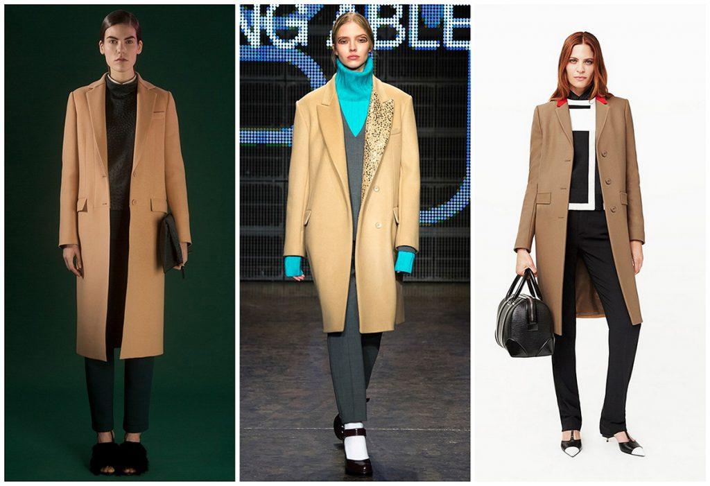 Примеры сочетаний бежевого пальто с одеждой