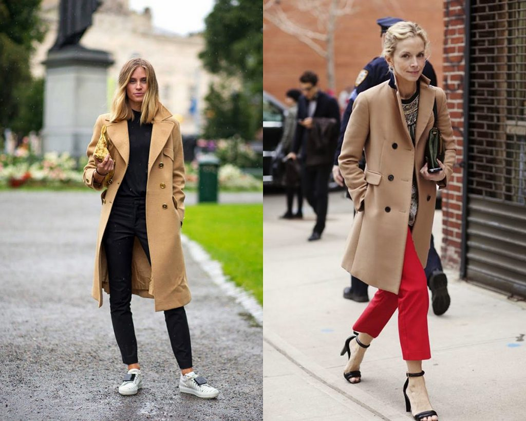 Образы с бежевым пальто