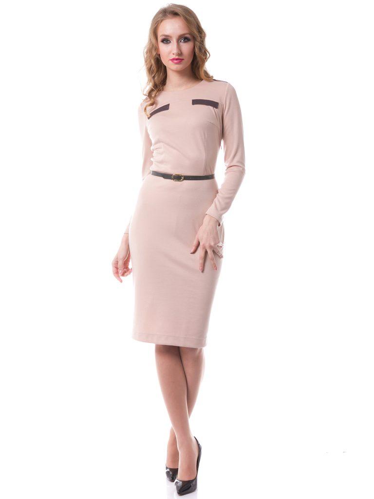 Бежево-розовое красивое платье