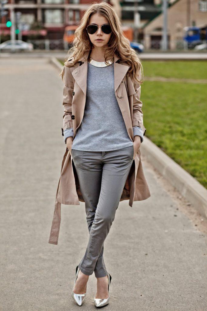 Бежевый и серый цвета в одежде