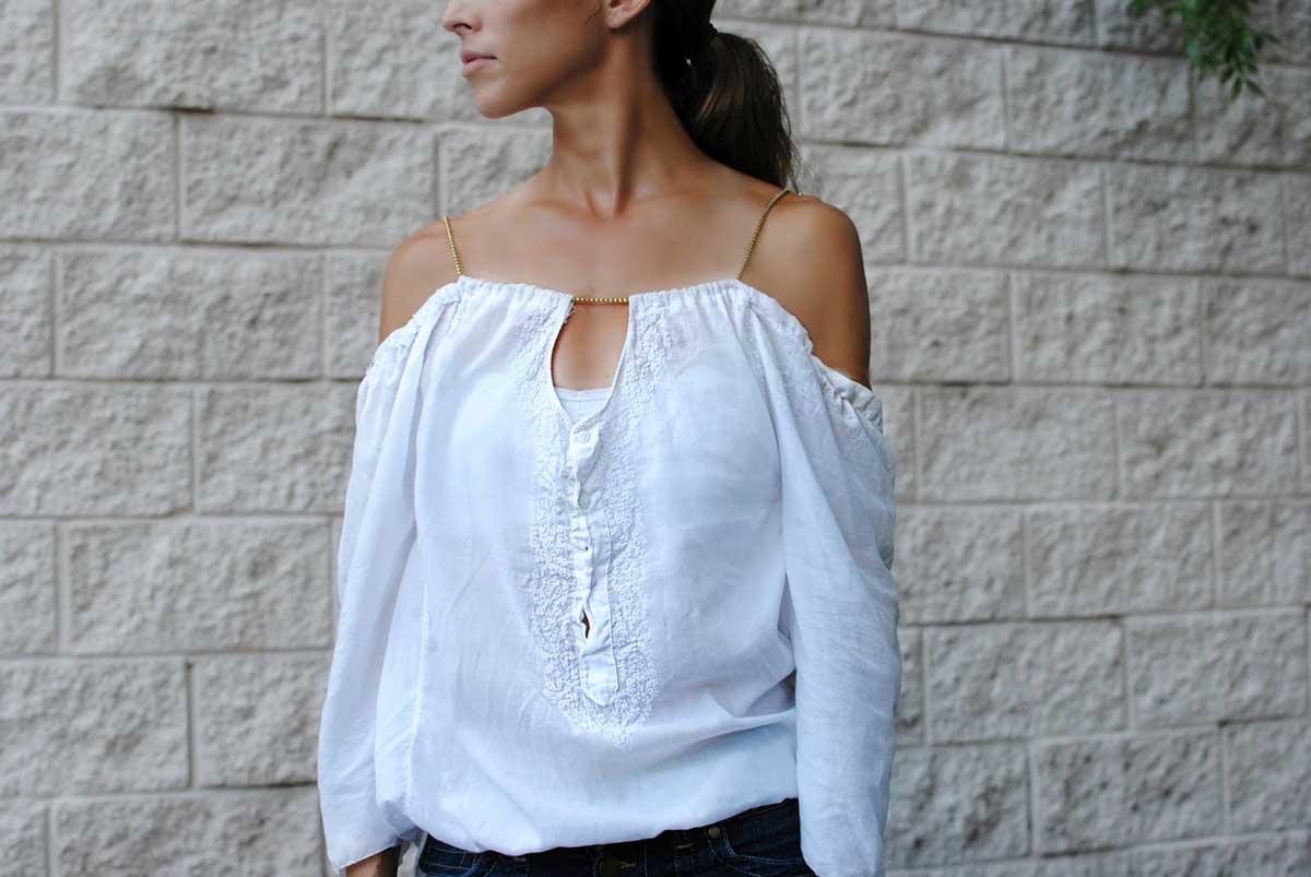 Как из мужской рубашки сделать блузку с открытыми плечами на резинке