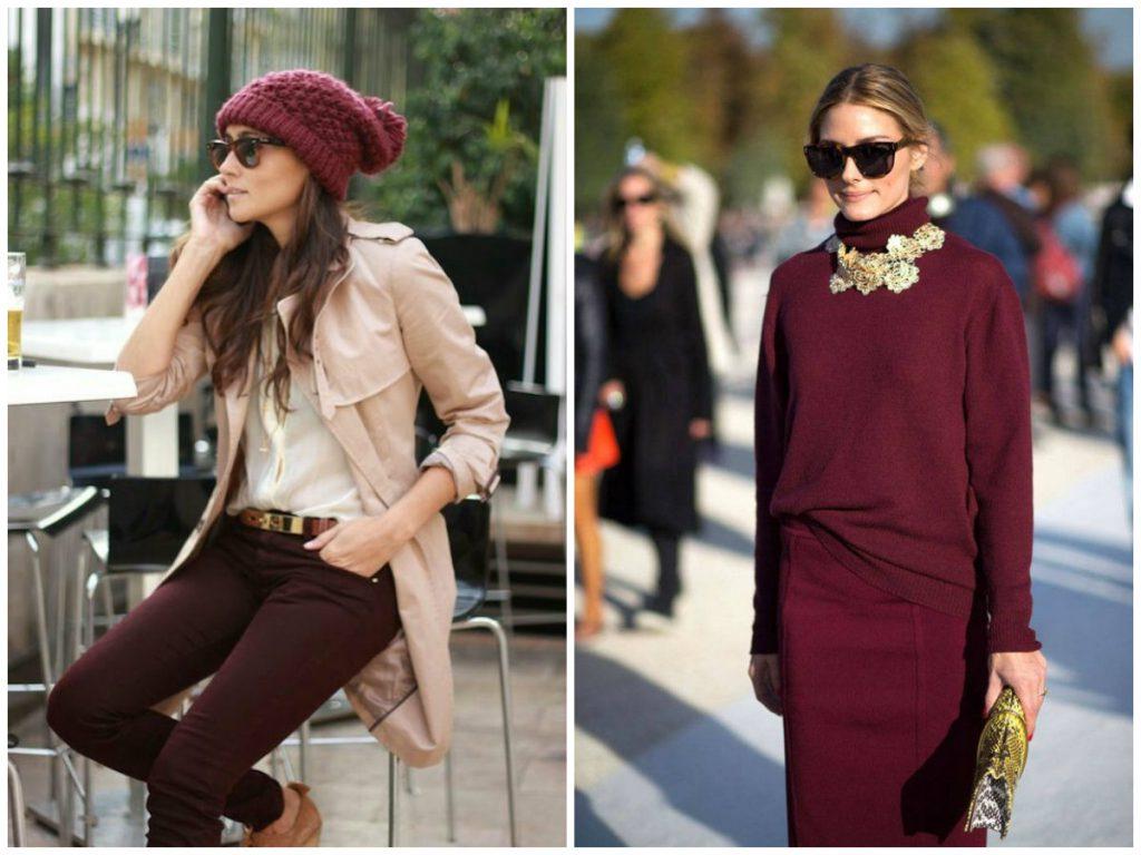 Красивые сочетания бордового цвета в одежде