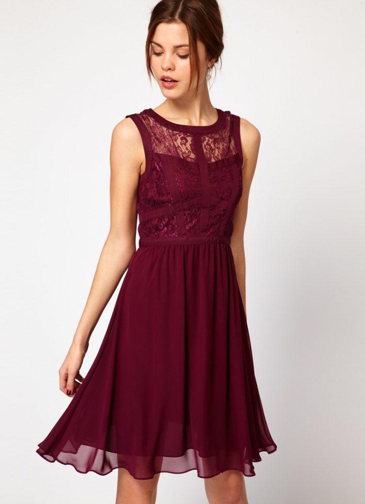 Короткие бордовые платья 46