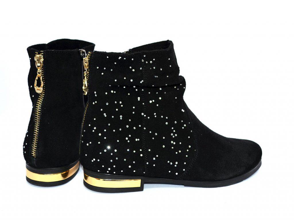 Черно-золотые женские замшевые ботинки