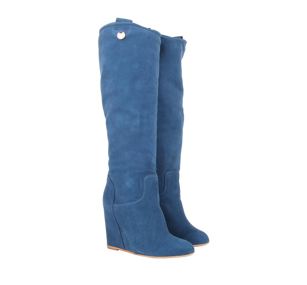 Синие женские замшевые сапоги