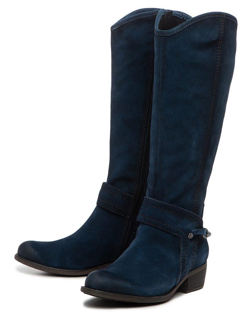 Синие женские замшевые сапоги на плоской подошве