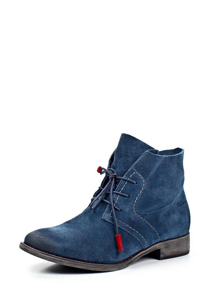 Синие женские замшевые ботинки