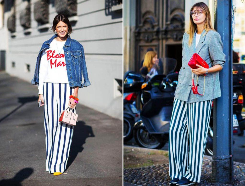 Сине-белые широкие брюки в полоску