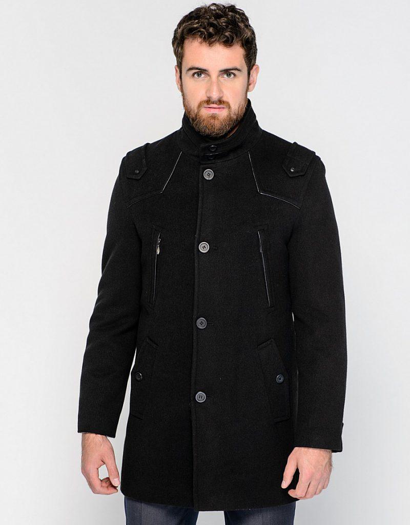 Однобортное мужское черное пальто