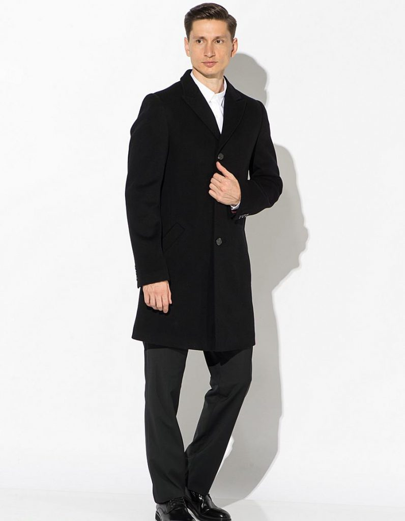 Классическое стильное черное пальто
