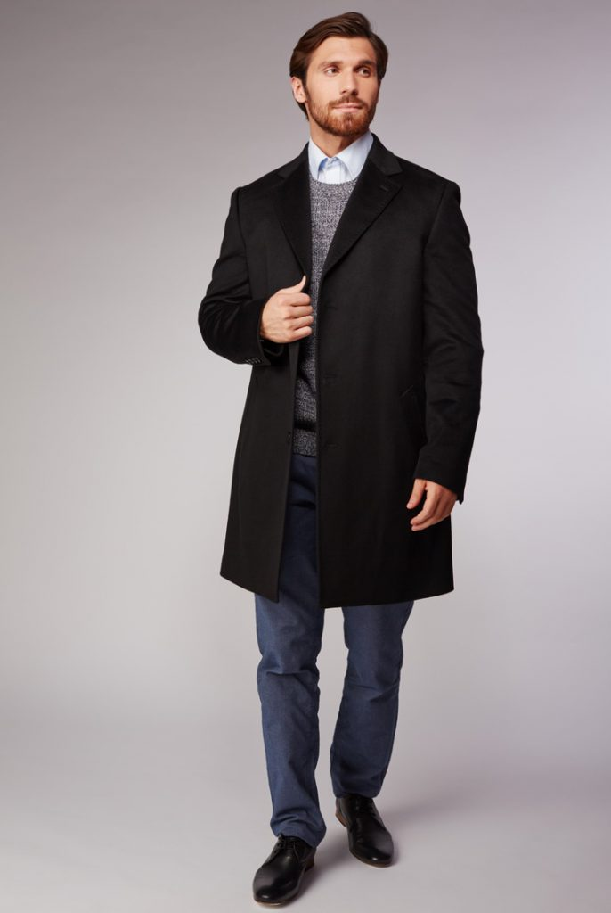 Свободное мужское черное пальто