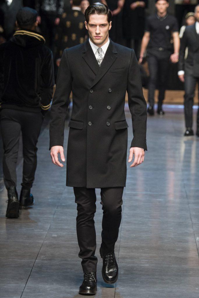 Двубортное мужское черное пальто