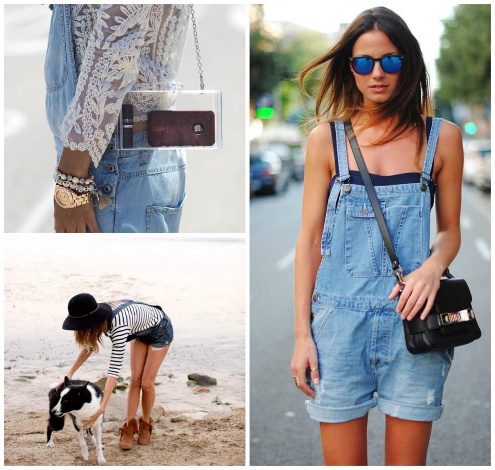 Варианты комбинирования джинсового комбинезона