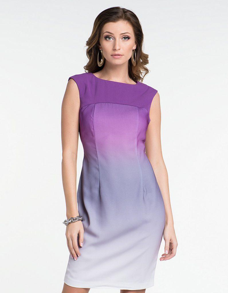 Фиолетово-серо-белое платье