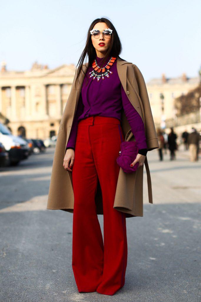 Фиолетовый и красный цвета в одежде