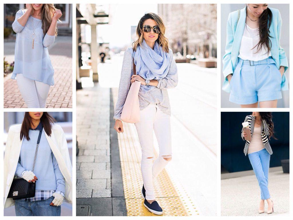 Сочетание голубого и белого цветов в одежде