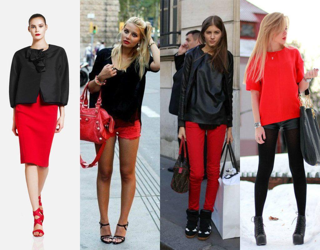 Сочетания черного и красного в одежде