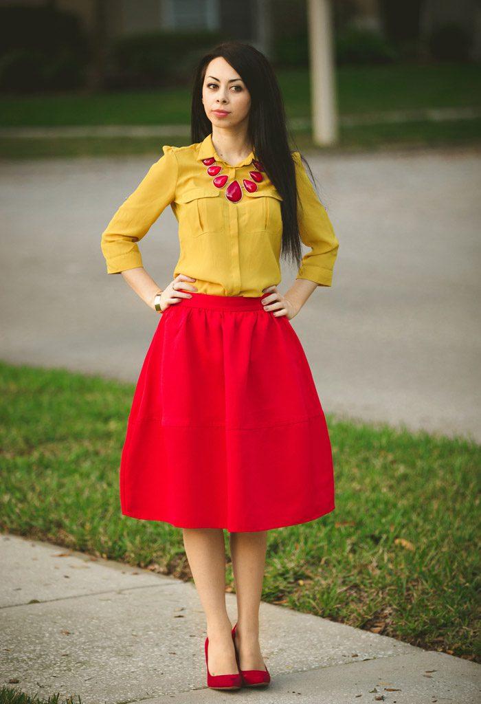 Сочетания желтого и красного в одежде