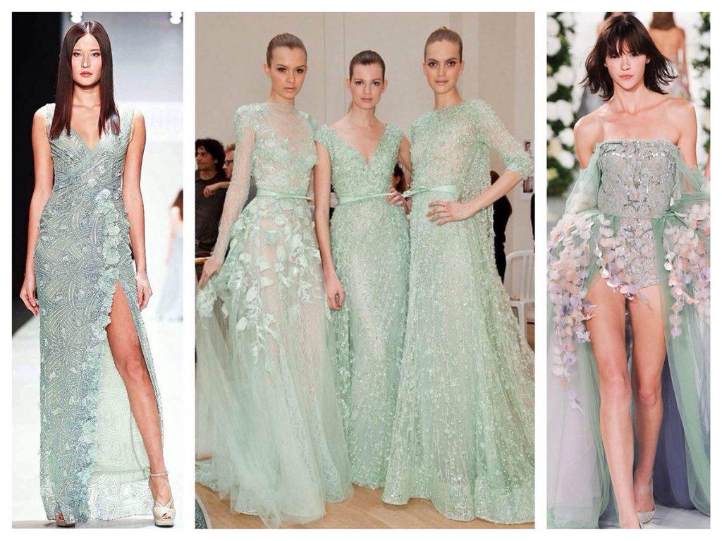 Роскошные мятные платья