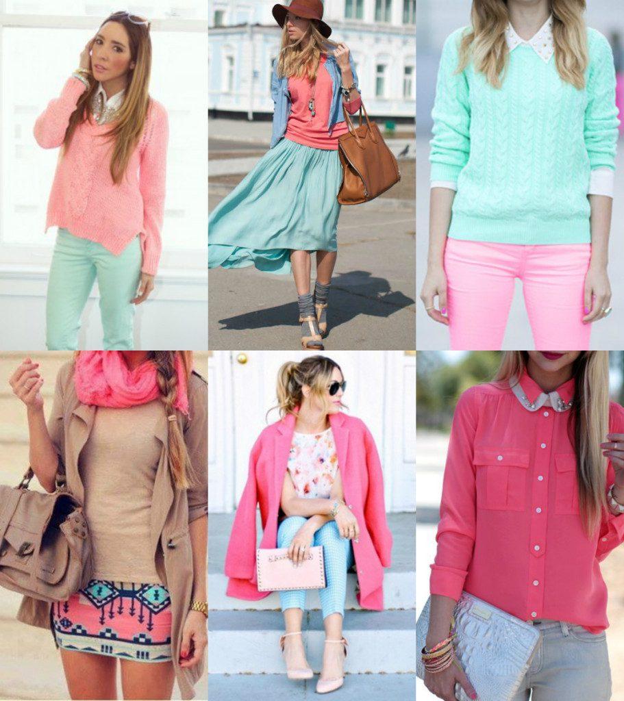 Мятный и розовый цвета в одежде