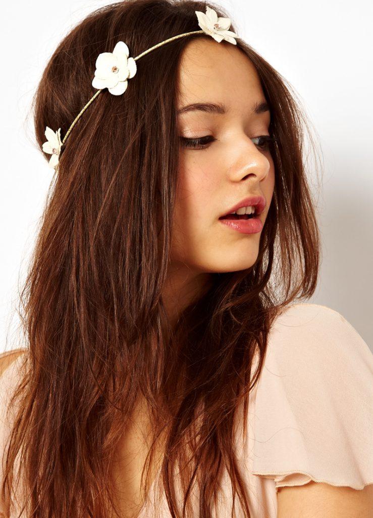 Белый ободок-повязка для волос с цветами