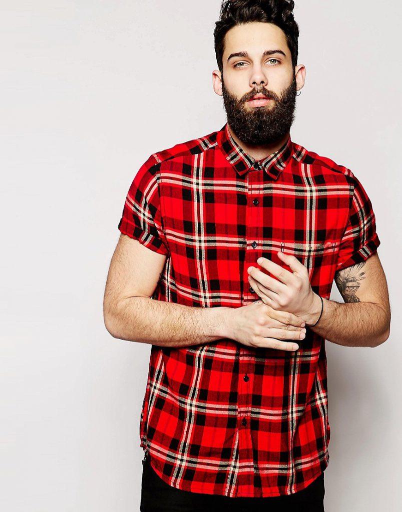 Мужская рубашка в шотландскую клетку
