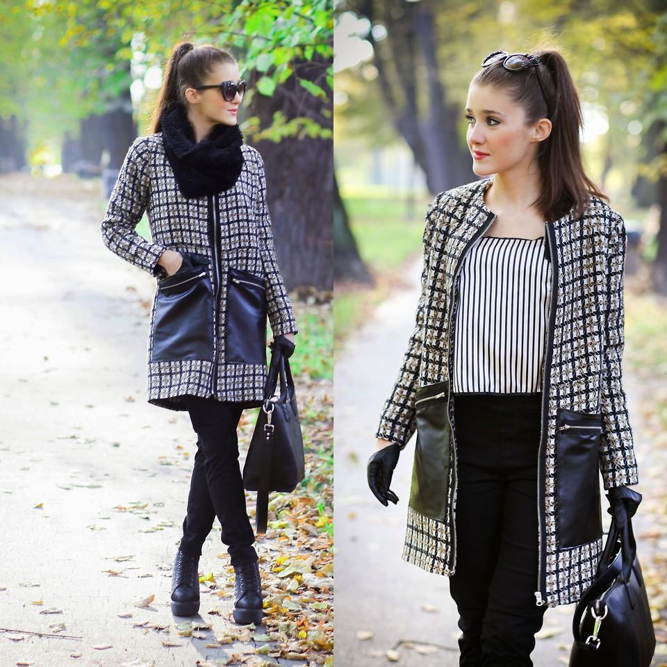 Деловой образ с черно-белым клетчатым пальто