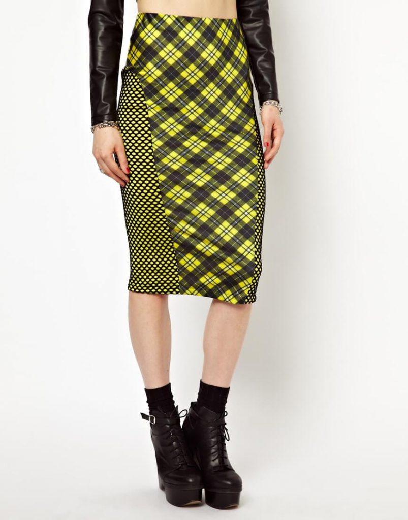 Черно-желтая юбка в диагональную клетку
