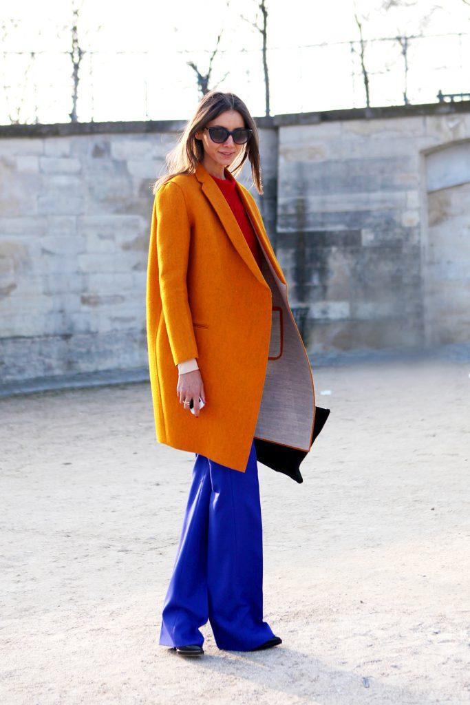 Оранжевый и синий цвета в одежде