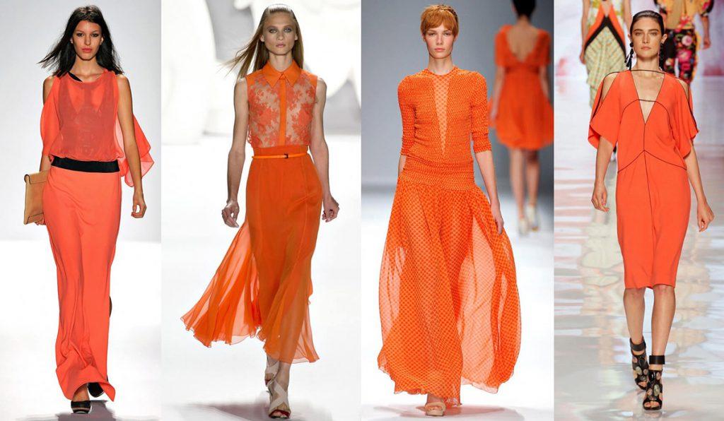 Красивые оранжевые женские наряды