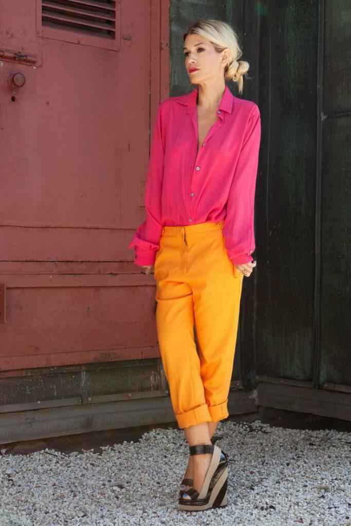 Оранжевый и розовый цвета в одежде