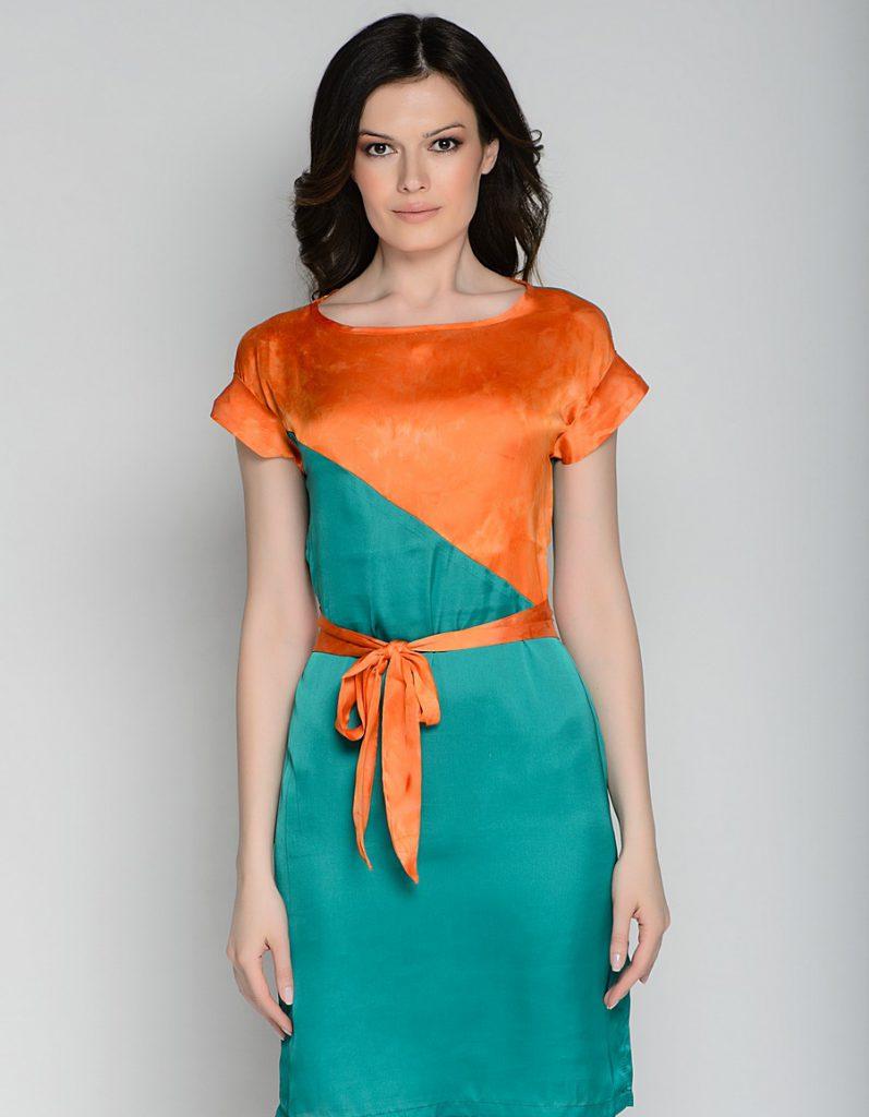 Оранжево-зеленое платье