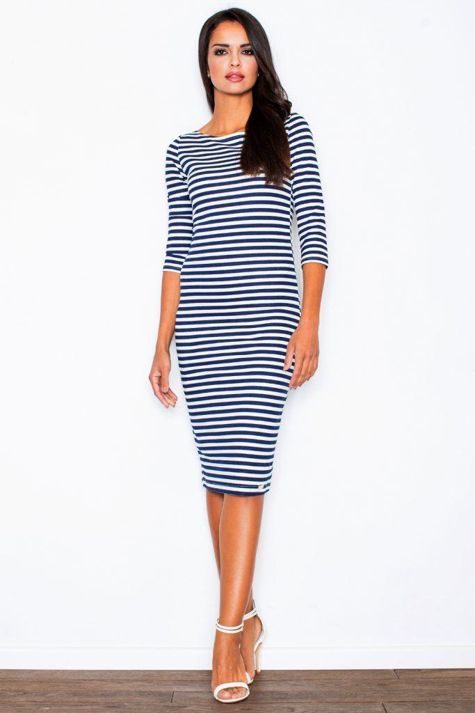 Сине-белое полосатое платье в морском стиле